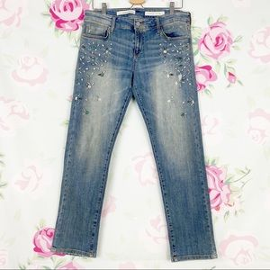 Anthro Pilcro Beaded Hyphen Distressed Jeans 29